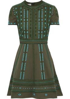 Valentino Woman Embellished Cotton-twill Mini Dress Army Green