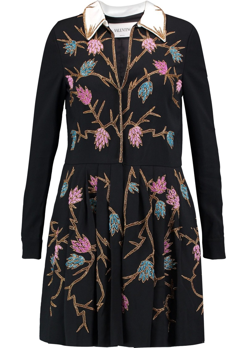 Valentino Woman Embellished Crepe Mini Dress Black