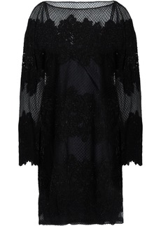 Valentino Woman Embellished Embroidered Silk-blend Tulle Mini Dress Black
