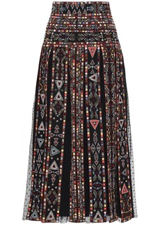 Valentino Woman Embellished Pleated Point D'esprit-paneled Woven Midi Skirt Black