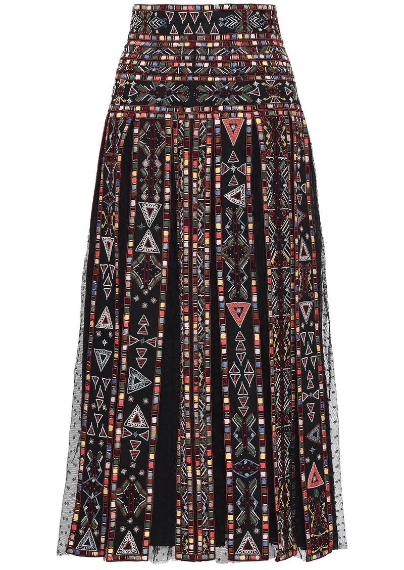 Valentino Woman Embellished Pleated Point D'esprit-paneled Woven Midi Skirt Black
