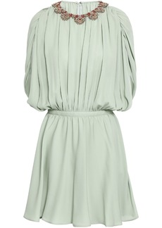 Valentino Woman Embellished Pleated Silk Crepe De Chine Mini Dress Light Green