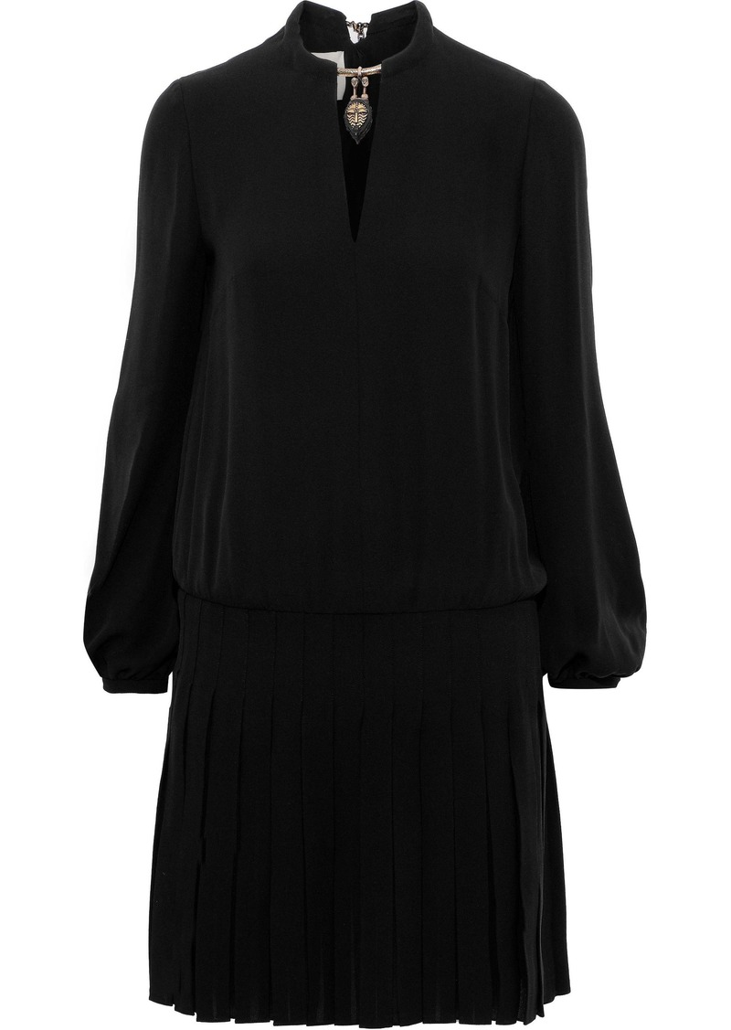 Valentino Woman Cutout Pleated Embellished Silk-crepe Mini Dress Black