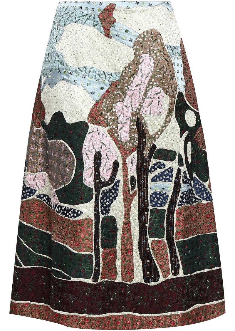 Valentino Woman Embellished Silk-jacquard Midi Skirt Multicolor