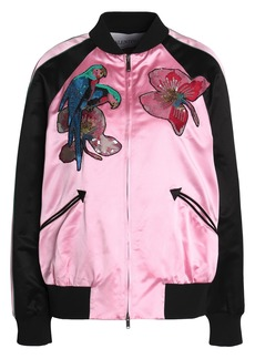 Valentino Woman Embellished Silk-satin Bomber Jacket Pink