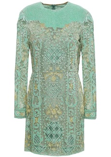 Valentino Woman Embellished Tulle Mini Dress Mint