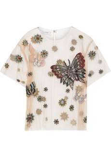 Valentino Woman Embellished Tulle Top Sand