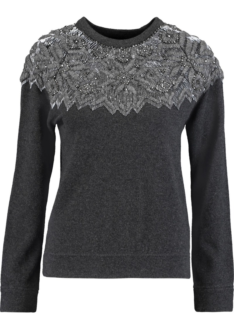 Valentino Woman Embellished Wool And Cashmere-blend Sweater Charcoal