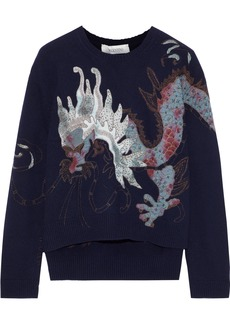 Valentino Woman Embellished Wool And Cashmere-blend Sweater Navy