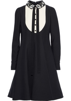 Valentino Woman Embellished Wool And Silk-blend Crepe Dress Black