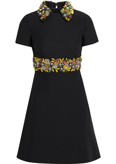 Valentino Woman Embellished Wool And Silk-blend Crepe Mini Dress Black