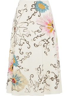 Valentino Woman Embellished Wool And Silk-blend Midi Skirt Cream