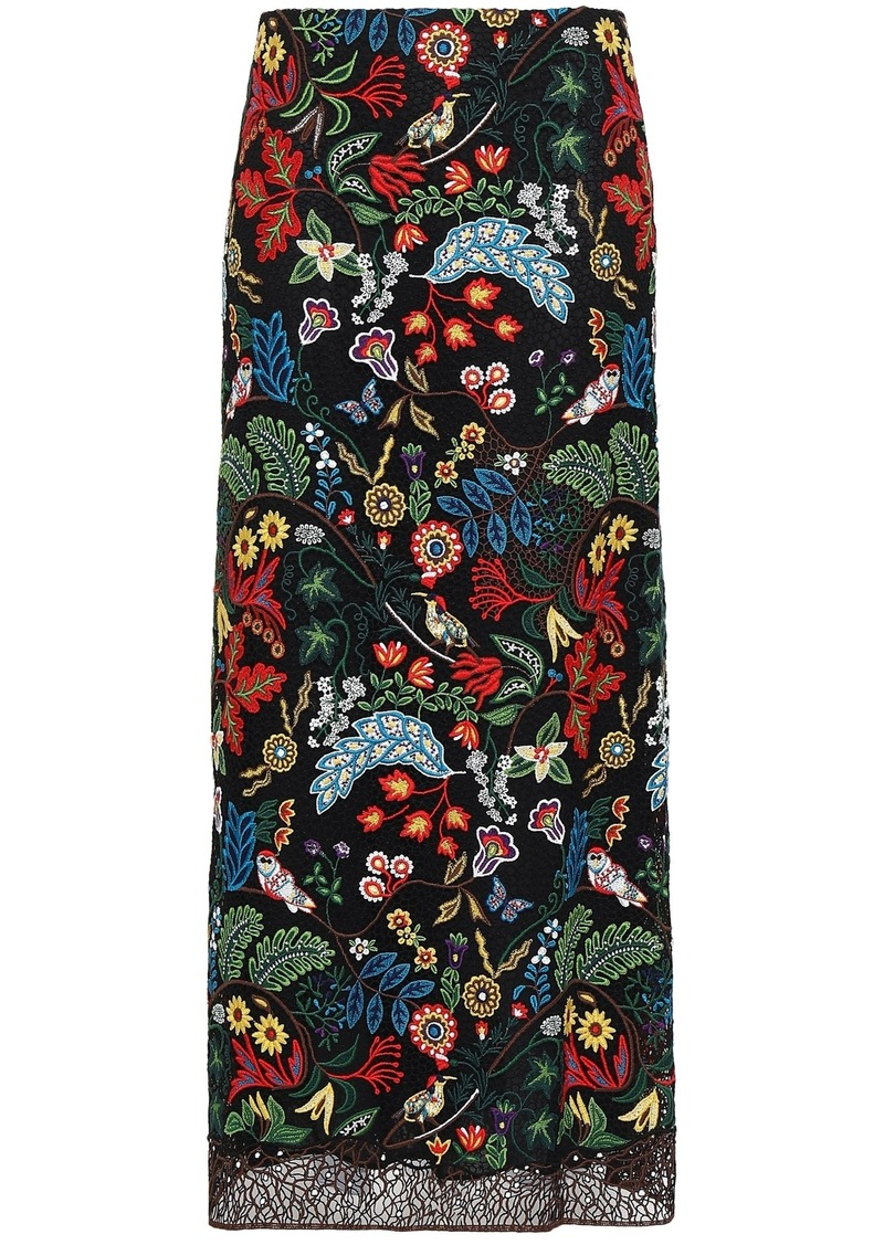 Valentino Woman Embroidered Cotton-blend Macramé Lace Maxi Skirt Black