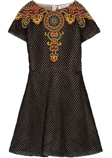 Valentino Woman Embroidered Cotton-mesh Mini Dress Black
