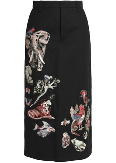 Valentino Woman Embroidered Cotton-twill Midi Skirt Black