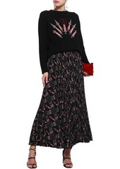 Valentino Woman Embroidered Intarsia Wool And Cashmere-blend Sweater Black