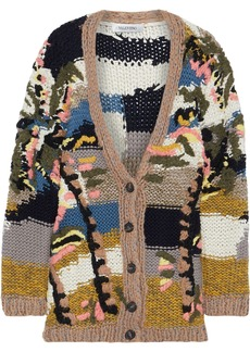 Valentino Woman Embroidered Wool Cashmere And Silk-blend Cardigan Multicolor