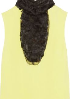Valentino Woman Faux Feather-paneled Crepe Top Chartreuse