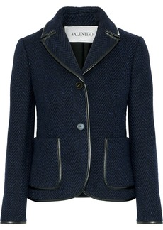 Valentino Woman Faux Leather-trimmed Herringbone Wool Jacket Midnight Blue