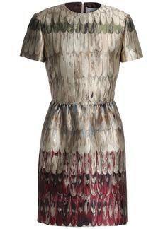 Valentino Woman Flared Brocade Mini Dress Beige