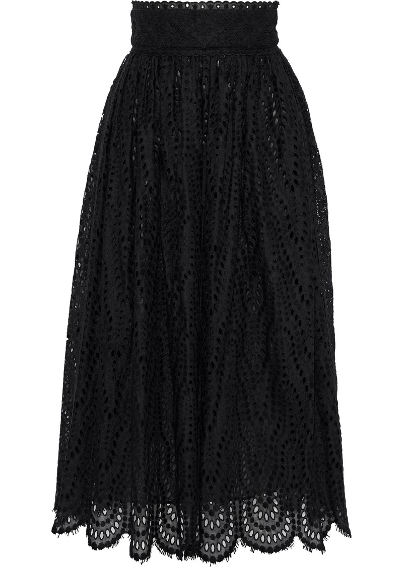 Valentino Woman Flared Broderie Anglaise Cotton-blend Midi Skirt Black