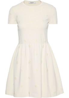 Valentino Woman Flared Floral-appliquéd Ponte Mini Dress Cream
