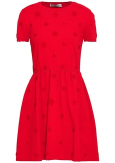 Valentino Woman Flared Floral-appliquéd Ponte Mini Dress Red