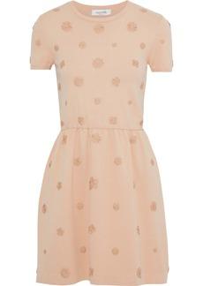 Valentino Woman Flared Floral-appliquéd Ponte Mini Dress Neutral