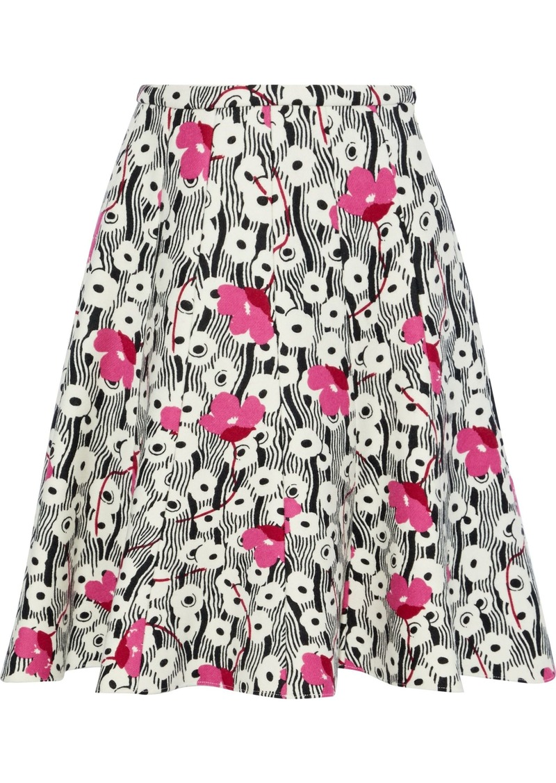 Valentino Woman Flared Floral-print Wool-felt Skirt Off-white