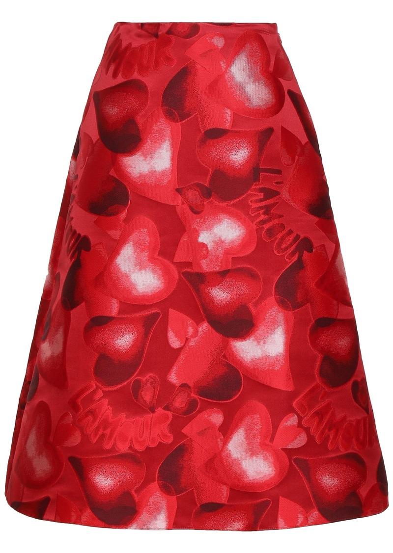 Valentino Woman Flared Jacquard Midi Skirt Red