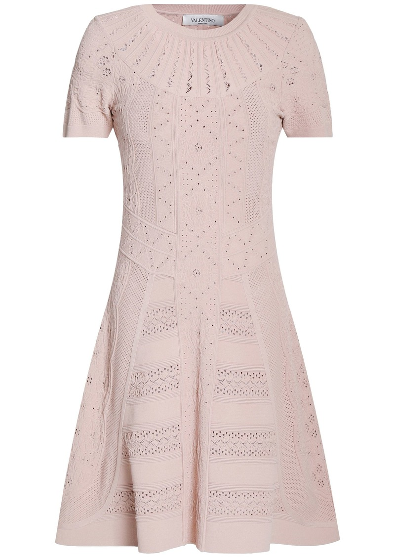 Valentino Woman Flared Pointelle-knit Mini Dress Pastel Pink