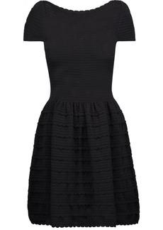 Valentino Woman Flared Scalloped Ribbed-knit Mini Dress Black
