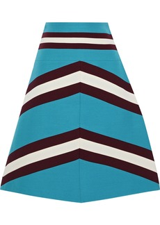 Valentino Woman Striped Wool And Silk-blend Crepe Mini Skirt Turquoise