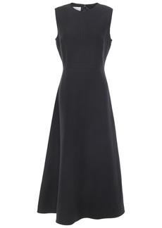 Valentino Woman Flared Wool And Silk-blend Midi Dress Black