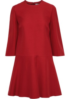 Valentino Woman Flared Wool And Silk-blend Mini Dress Crimson