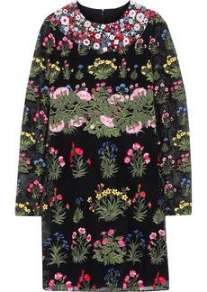 Valentino Woman Floral-appliquéd Cotton-blend Guipure Lace Mini Dress Black