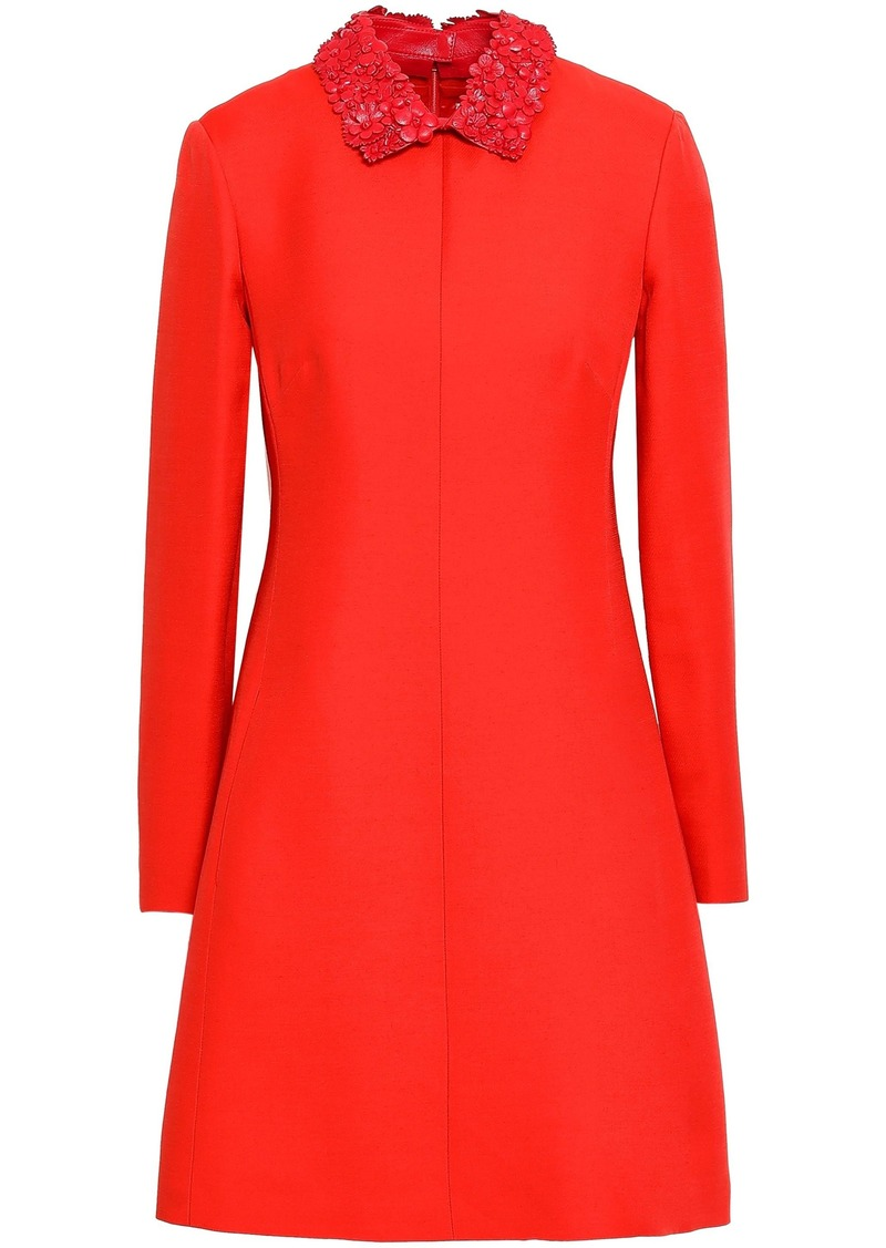 Valentino Woman Floral-appliquéd Leather-trimmed Wool And Silk-blend Mini Dress Red