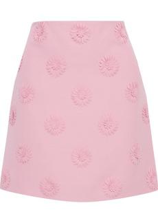 Valentino Woman Floral-appliquéd Wool And Silk-blend Crepe Mini Skirt Pink