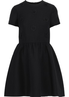 Valentino Woman Floral-appliquéd Wool And Silk-blend Mini Dress Black