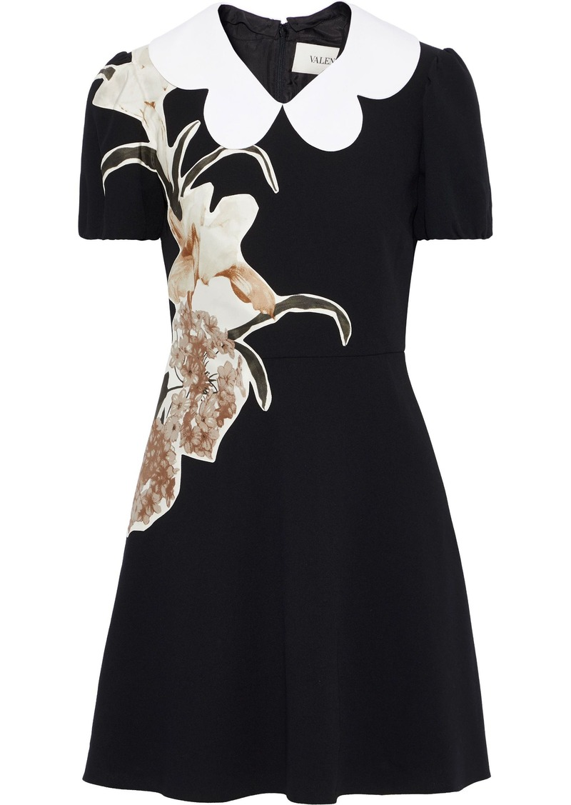 Valentino Woman Floral-appliquéd Wool-crepe Mini Dress Black
