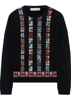 Valentino Woman Floral Intarsia-knit Sweater Black