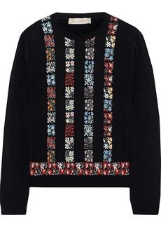 Valentino Woman Floral Intarsia-knit Sweater Black
