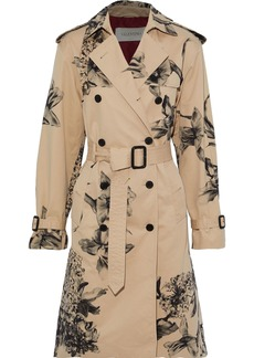 Valentino Woman Floral-print Cotton-blend Gabardine Trench Coat Beige