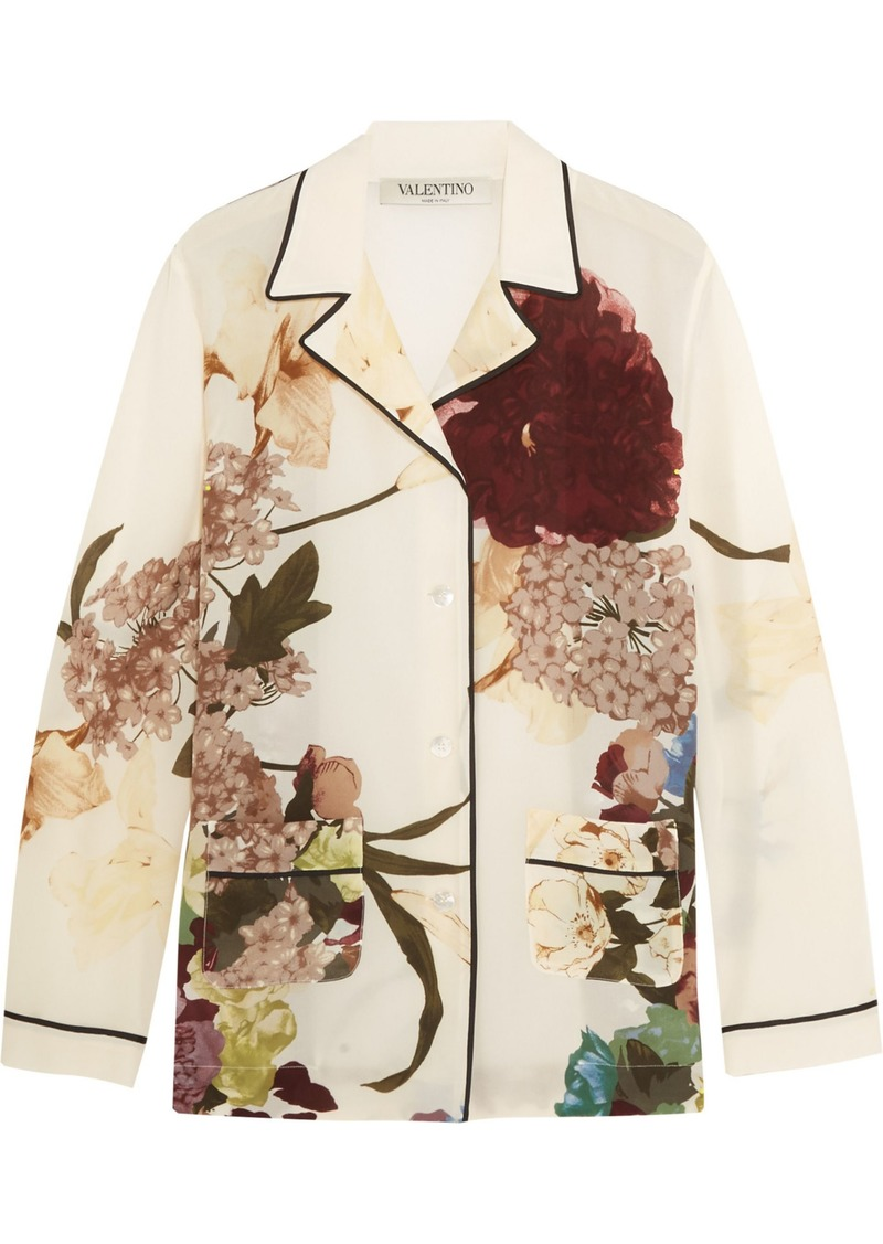 Valentino Woman Floral-print Silk Crepe De Chine Shirt Cream