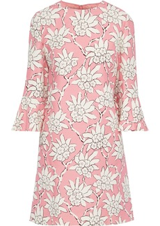 Valentino Woman Floral-print Wool And Silk-blend Cady Mini Dress Baby Pink