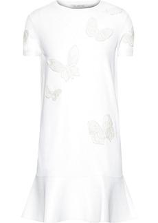 Valentino Woman Fluted Appliquéd Ponte Mini Dress White