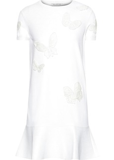 Valentino Woman Fluted Appliquéd Stretch-knit Mini Dress White