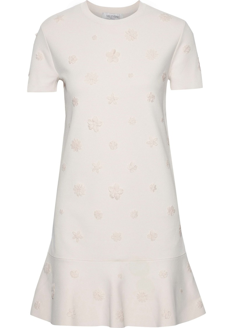 Valentino Woman Fluted Floral-appliquéd Ponte Mini Dress Ecru