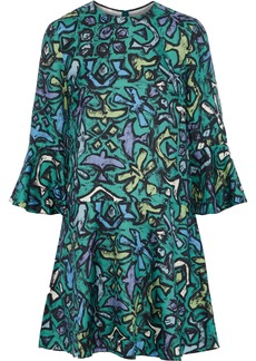 Valentino Woman Fluted Printed Silk-crepe Mini Dress Jade