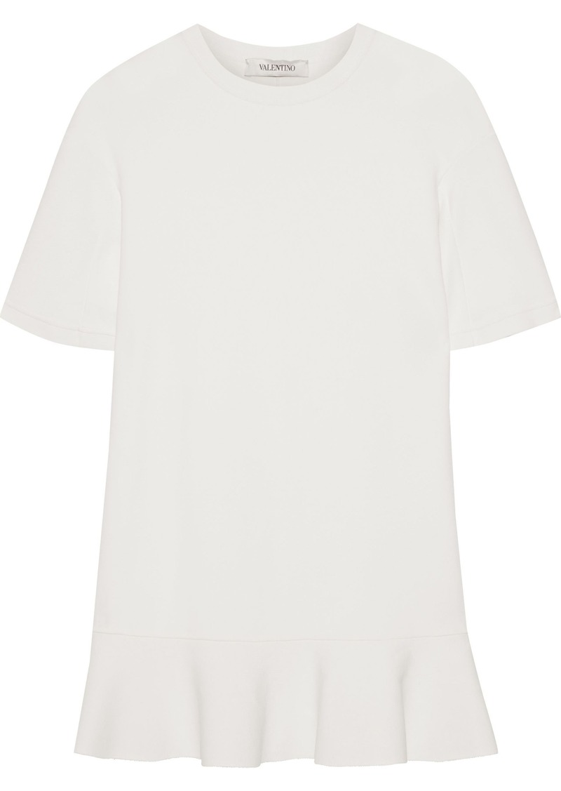 Valentino Woman Fluted Ruffle-trimmed Stretch-knit Tunic Off-white